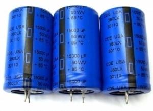 Three New Cde 15000uf 50v Snap In Radial Capacitors Aa