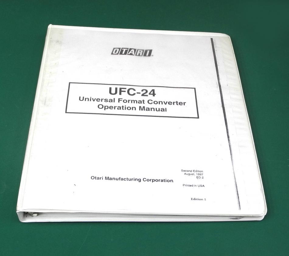 Otari UFC24 Universal Format Converter Operation Manual – Operation Manual